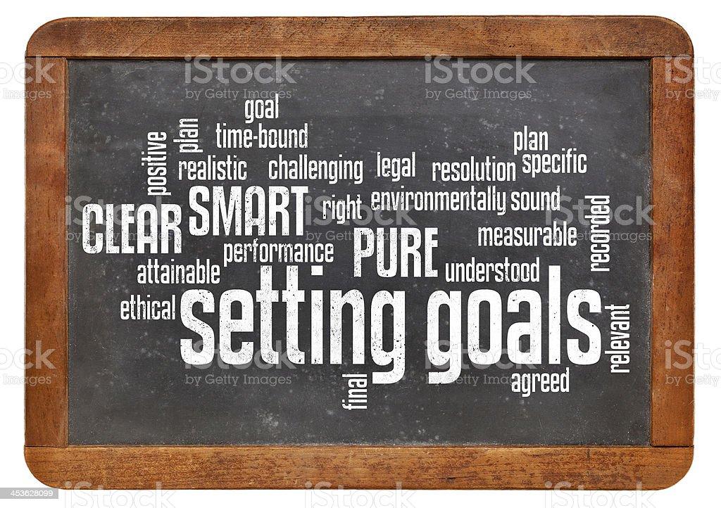 setting goals word cloud on blackboard stock photo