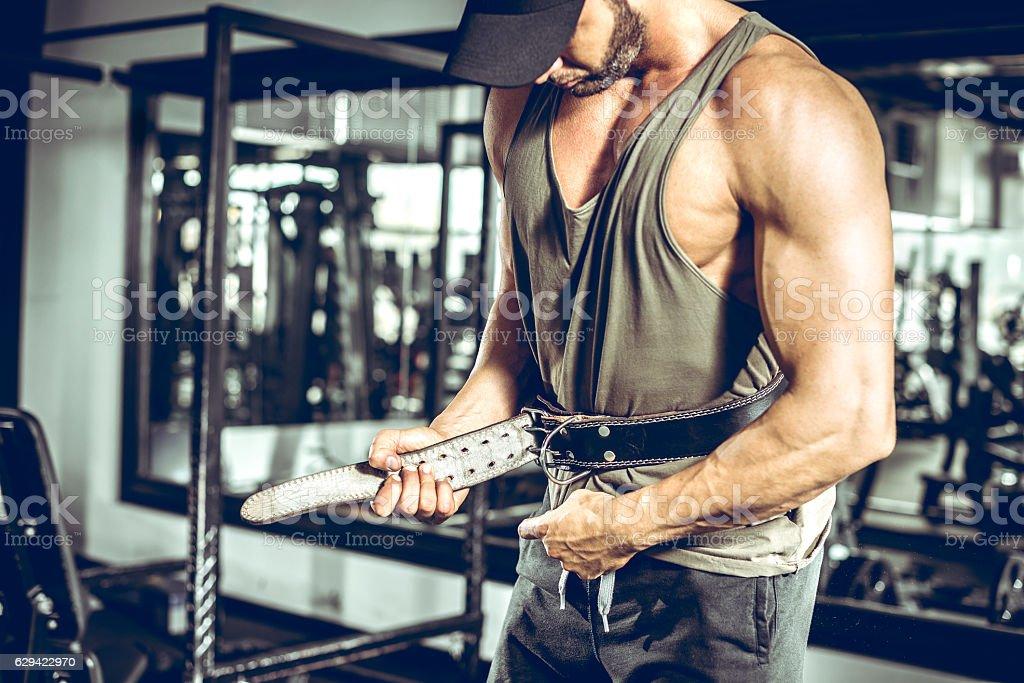 Setting gym protection belt stock photo
