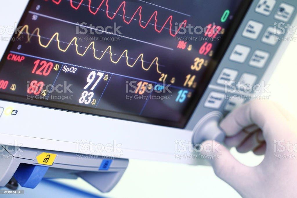 Setting of medical monitor stock photo