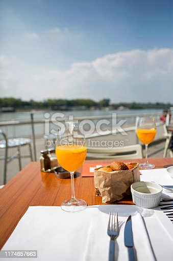 Setting of table on terrace, selective focus