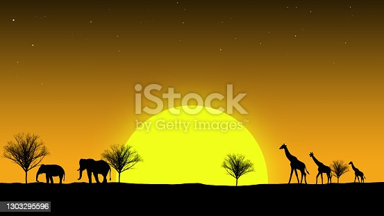 Silhouette of giraffes and elephants walking across the setting sun in Africa