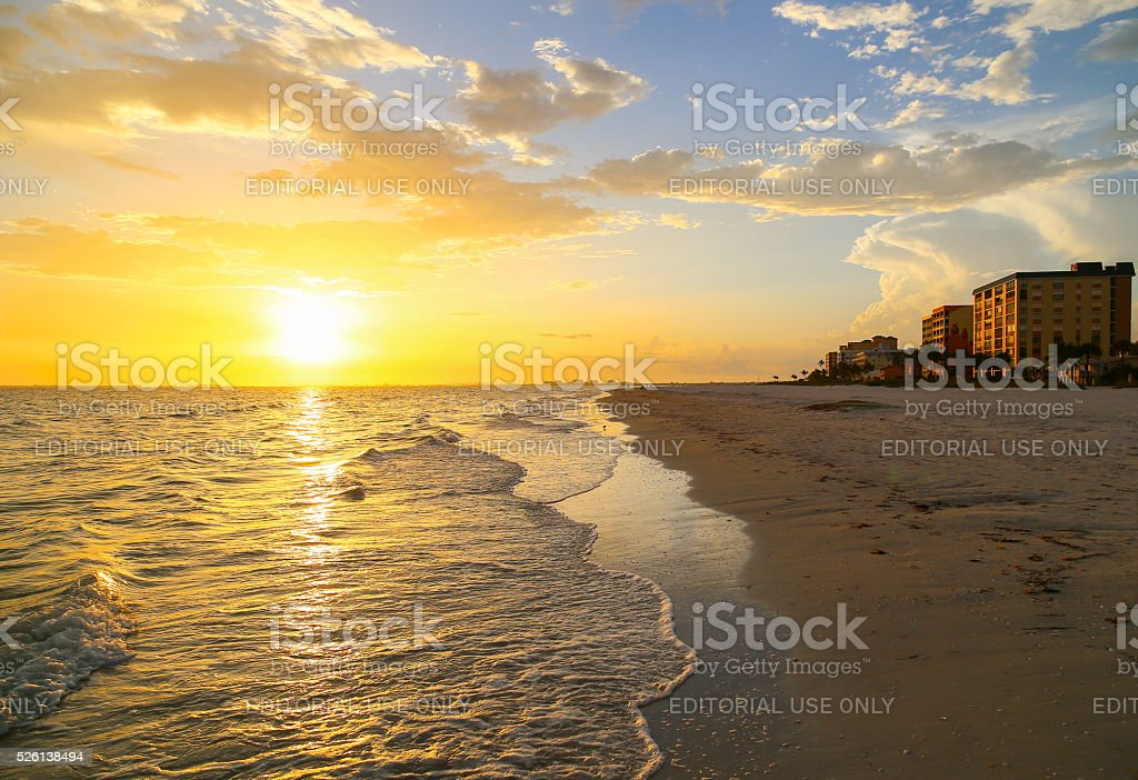 Setting Sun in Fort Myers Beach stock photo