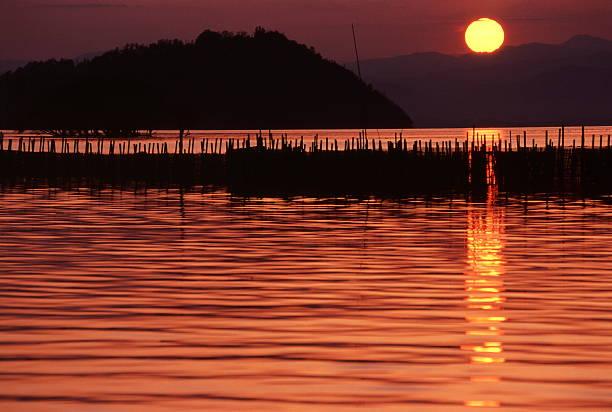 設定太陽の湖 Biwa ストックフォト