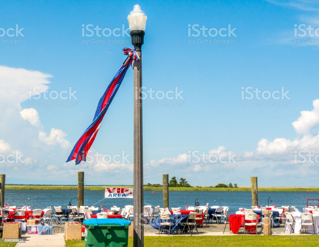Setting up for a July 4th party stock photo