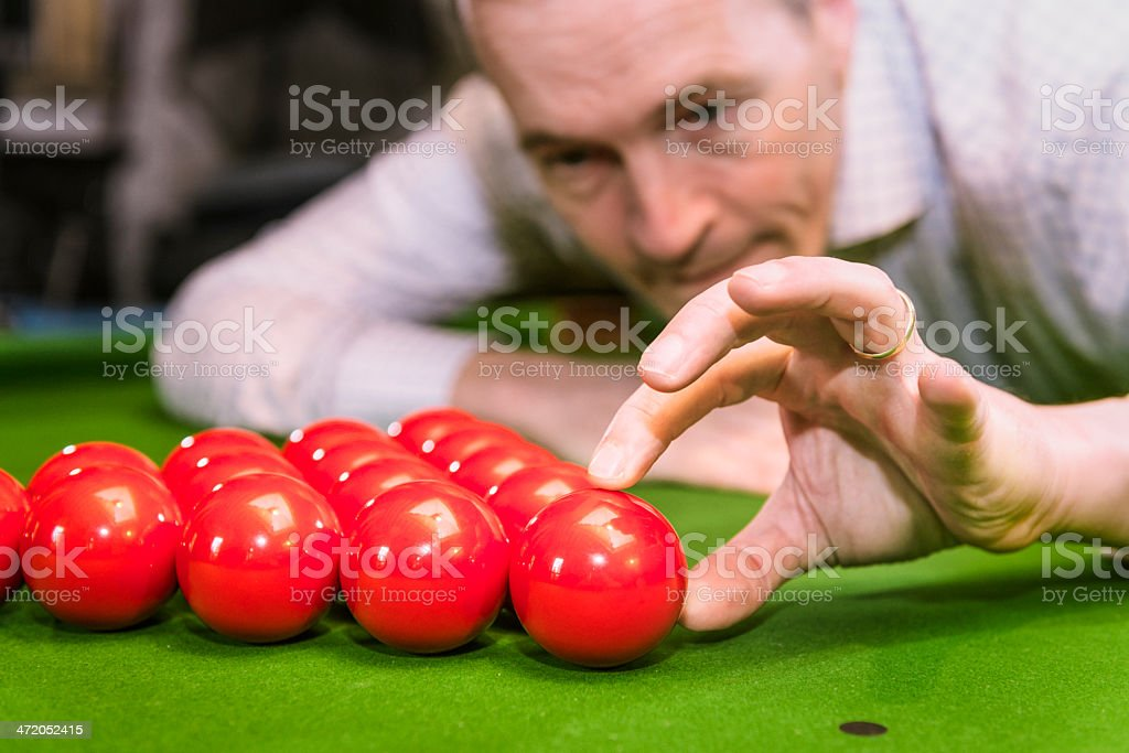 Setting up for snooker stock photo