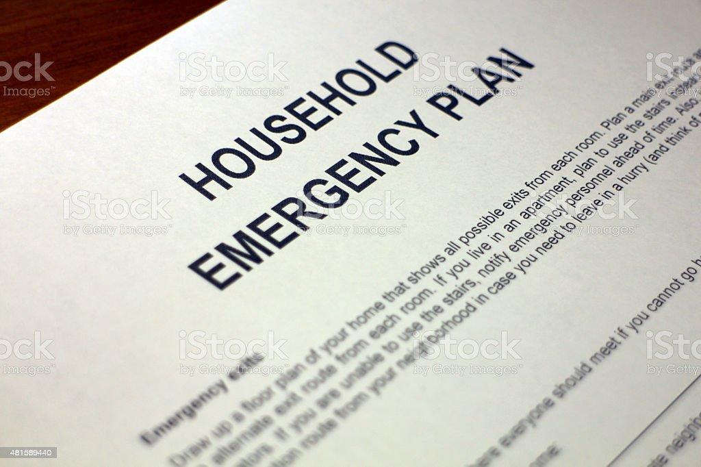 Setting up Household Emergency Plan stock photo