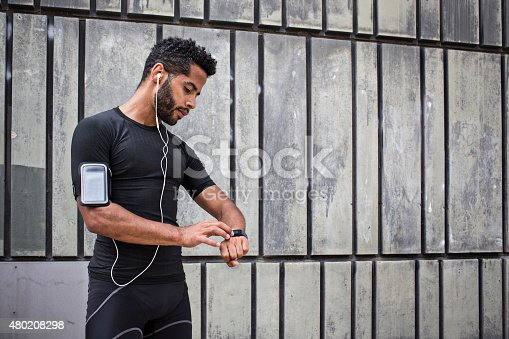 istock Setting up the smartwatch for running 480208298