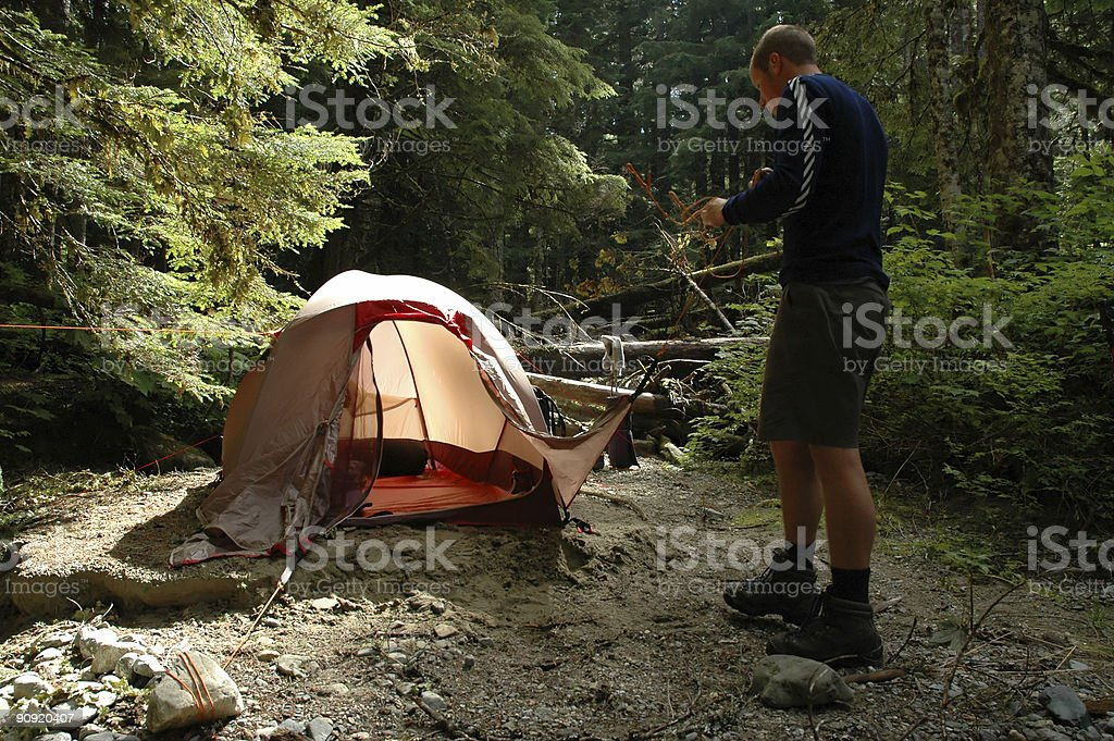 Setting up the tent royalty-free stock photo