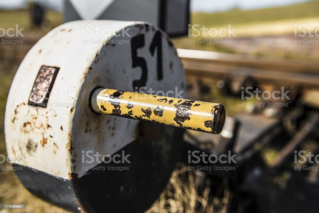 Setting-Lever for railway switch stock photo
