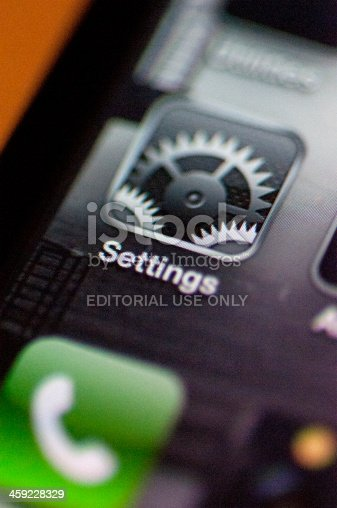 Cape Town, South Africa - August 23, 2011: Settings icon on an iphone 4, manufactured by Apple