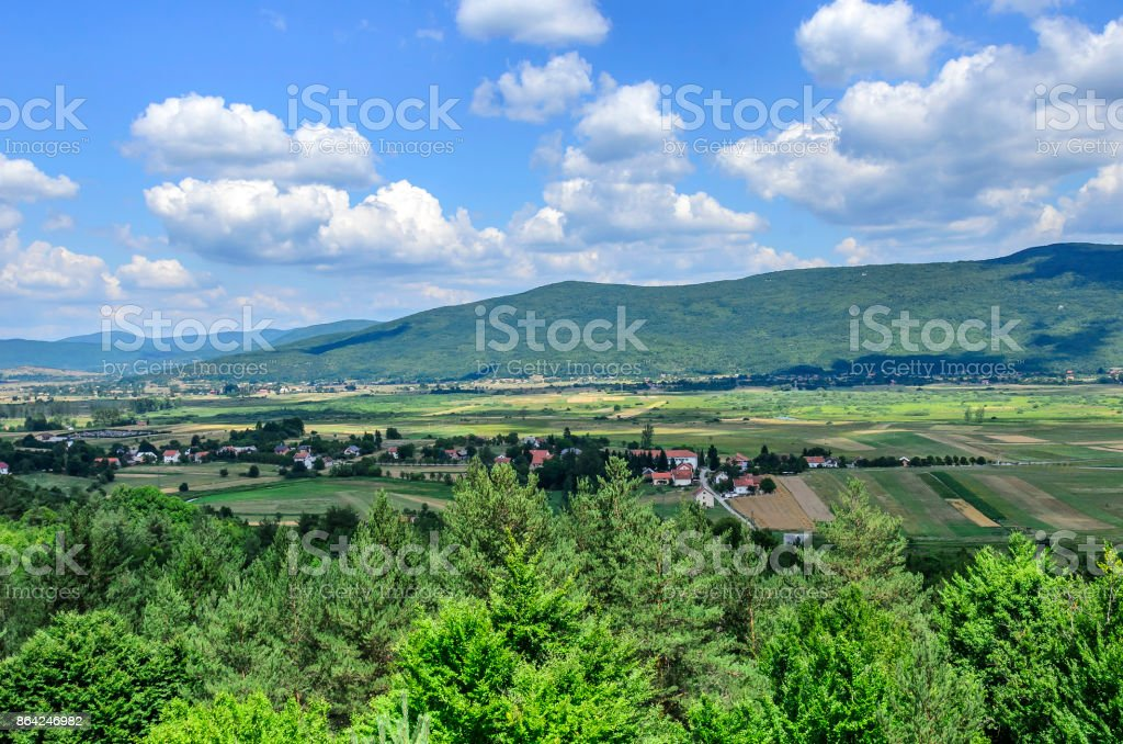 Settlement in the mountains. royalty-free stock photo