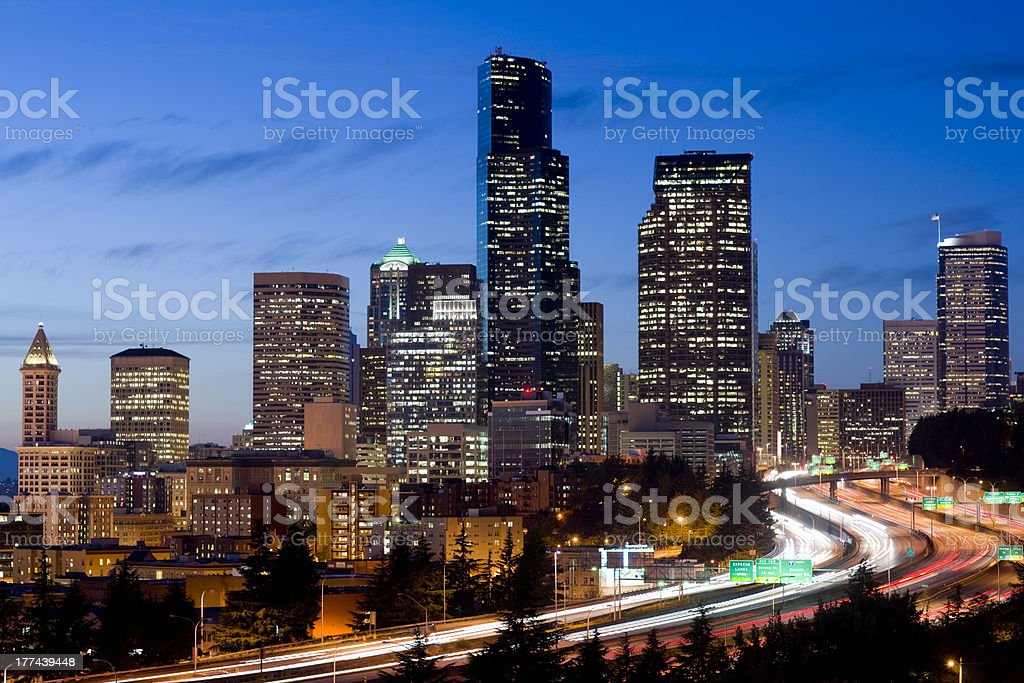 Settlement Office Buildings at Night Interstate Highway to Seattle Washington stock photo