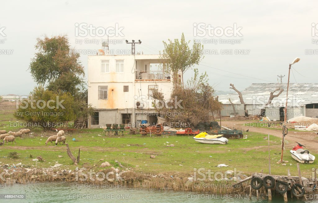 settlement on the banks of the river Manavgat royalty-free stock photo