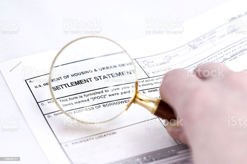 Settlement statement stock photo