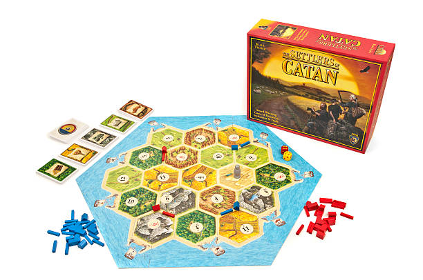 Settlers of Catan Game Board and Box stock photo
