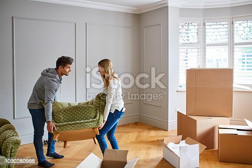 Shot of a happy young couple moving furniture in their new house