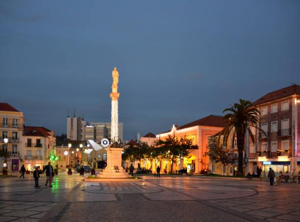 setubal main square, bocage square, portugal - setubal imagens e fotografias de stock