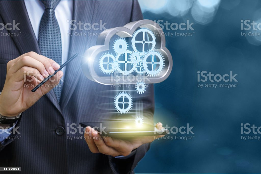 Setup data transfer from the cloud to the mobile computer . stock photo