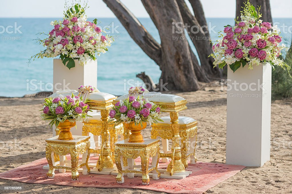 Setup for hand pouring in thai wedding ceremony royalty-free stock photo