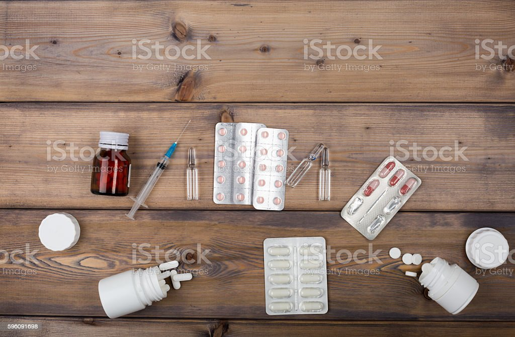 Setup from various pill bottles an blister pack Lizenzfreies stock-foto