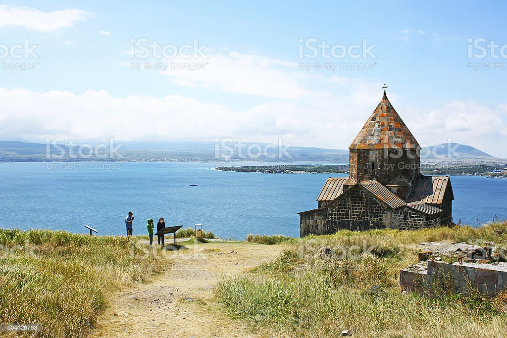 Sevanavank and lake Sevan stock photo