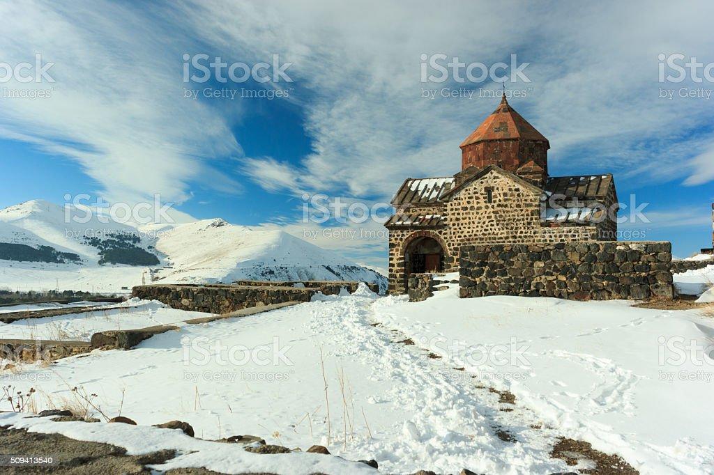 Sevanavank monastery in winter stock photo