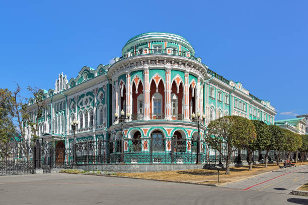 Sevastyanov's House in Yekaterinburg, Russia Sevastyanov's House, a historical building in the Eclecticism and Neo-gothic style in Yekaterinburg, Russia. It was built in 1863-1866. lancet arch stock pictures, royalty-free photos & images