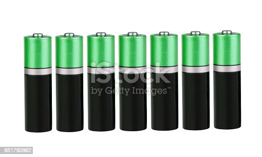 istock Seven batteries of the type AA in a single row on white background, isolated 651760962