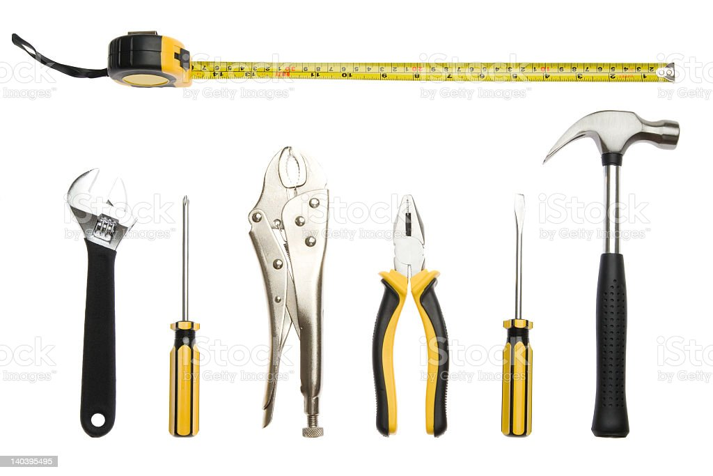Seven black and yellow tools on a white background stock photo