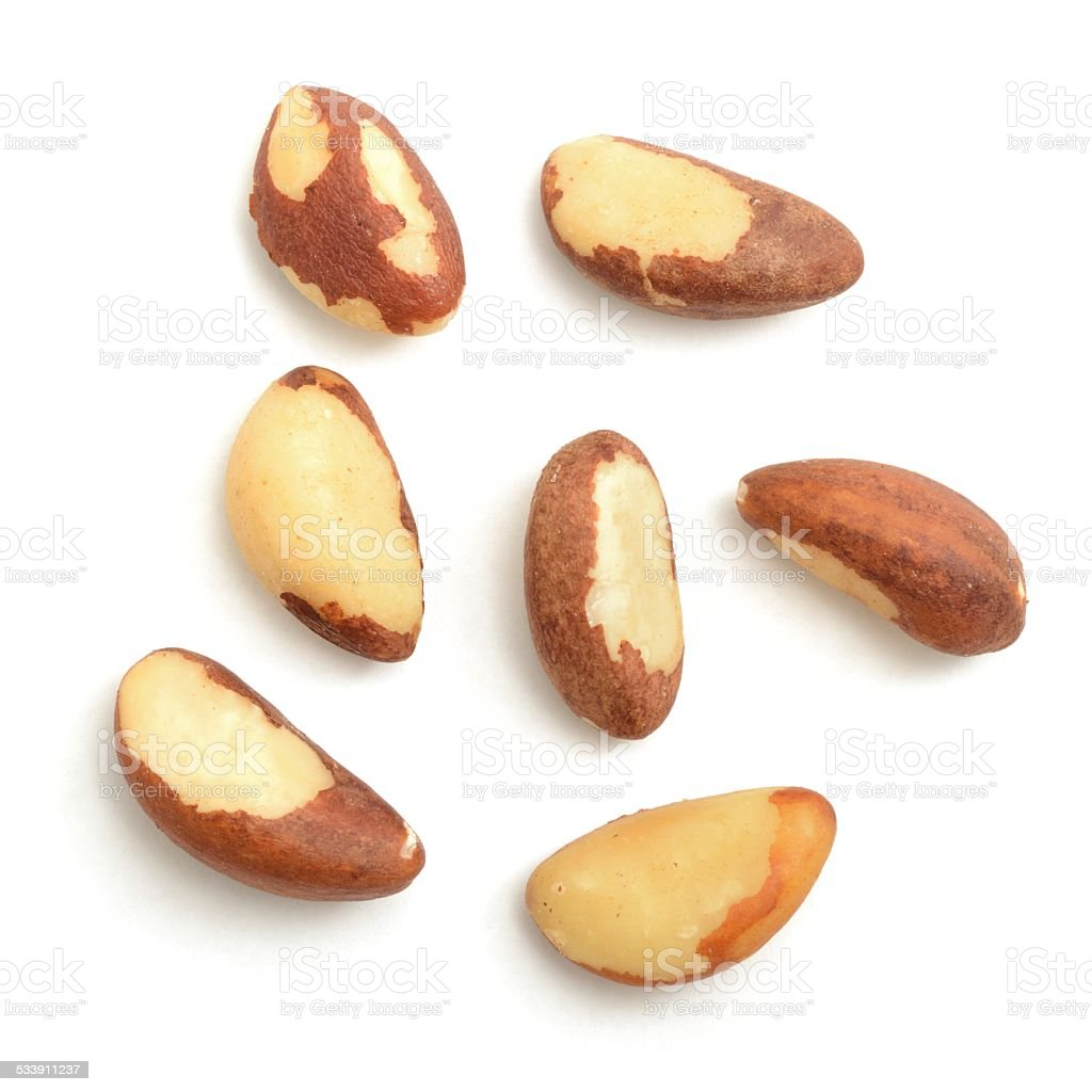 Seven Brazil nuts shelled stock photo