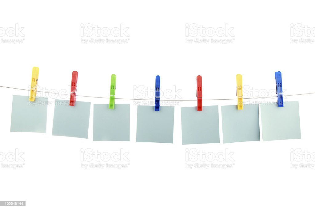 seven colour cards hang on clothespins royalty-free stock photo