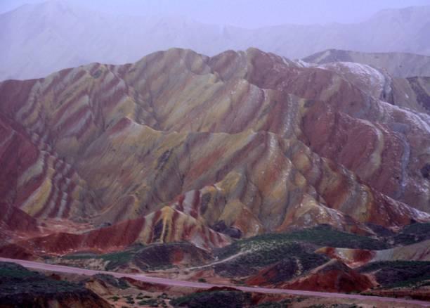 Seven Colour Mountain at Danxia landform geological park, Zhangye, Gansu, China stock photo