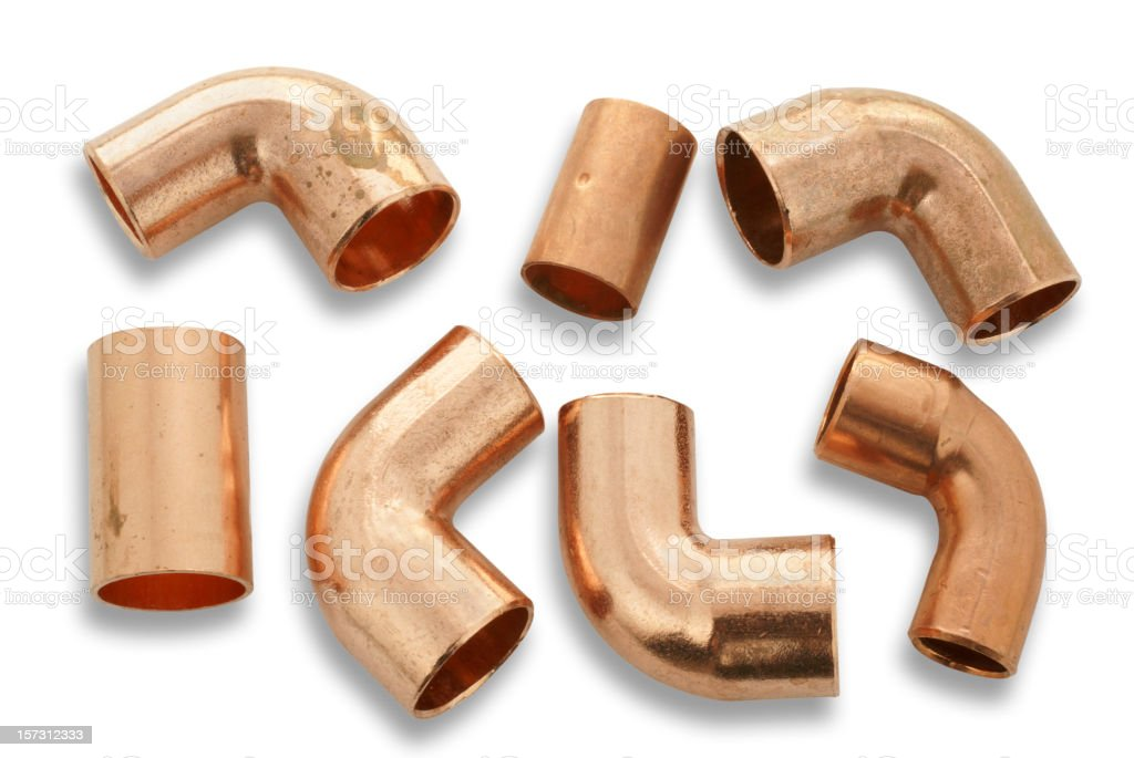 Seven Copper Pipe Fittingsclipping Path Stock Photo