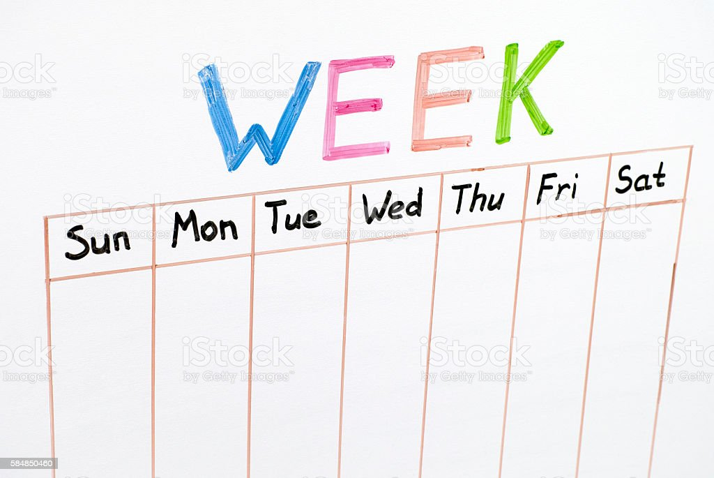 Seven days of the week stock photo