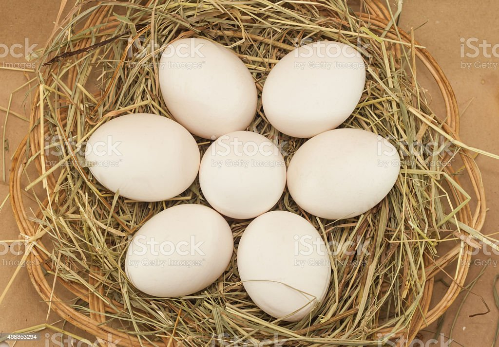 seven easter eggs in basket with hay royalty-free stock photo