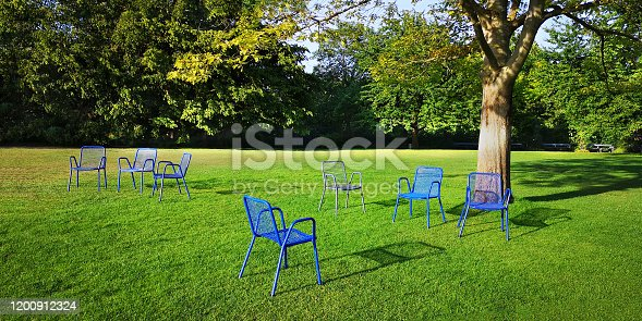 Several empty blue outdoor chairs.Unoccupied loungers in park under sprawling tree on bright green mown lawn with shrubs behind on sunny spring,summer or autumn day.Concept of invitation to vacation.