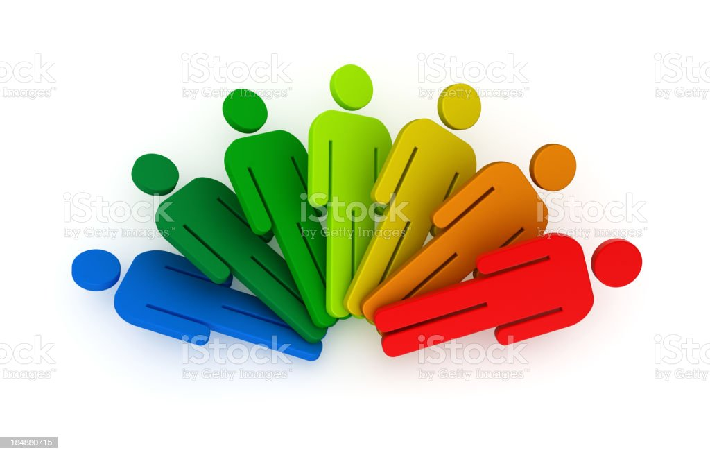 Seven human figures in rainbow colors on white background royalty-free stock photo