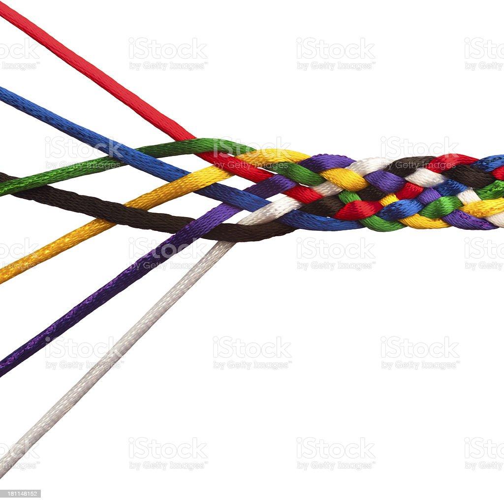 Seven interweaving multicolored strings stock photo