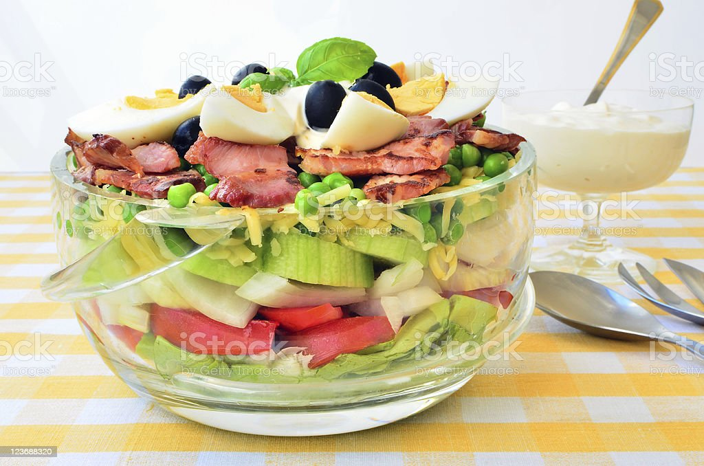 Seven layer salad stock photo