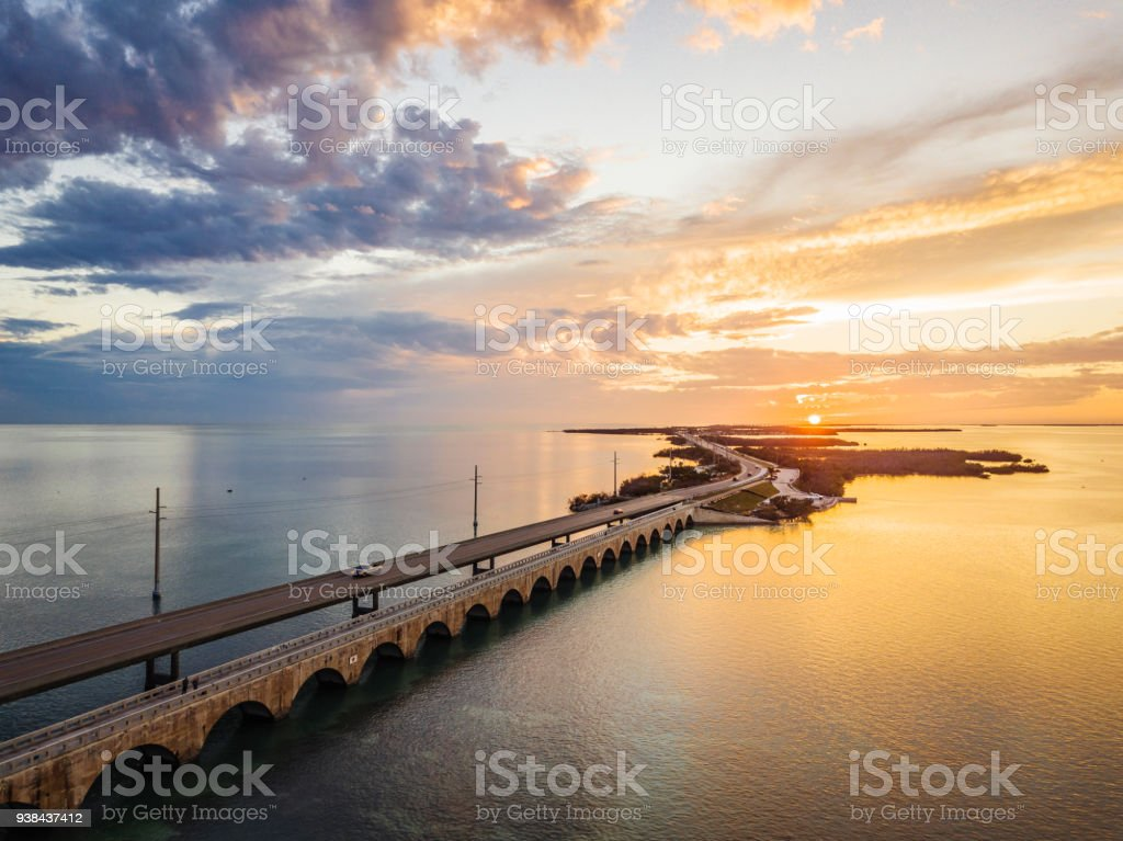 Seven Mile Bridge in Florida Keys stock photo