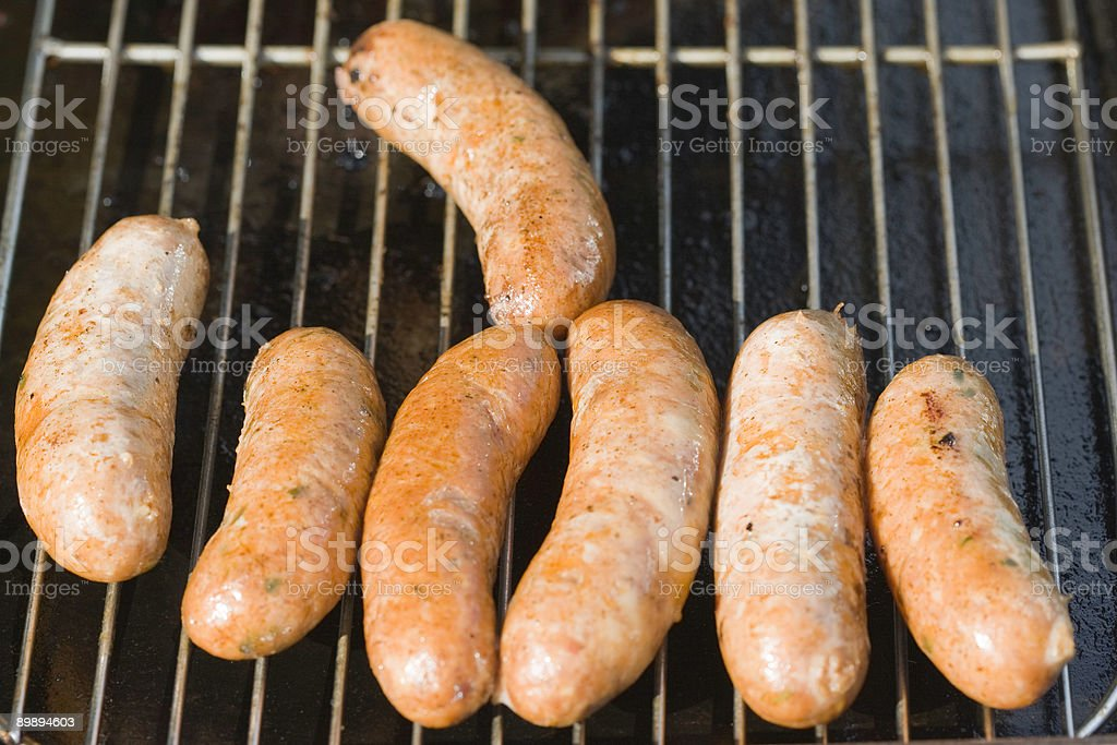 Seven Organic Sausages royalty-free stock photo