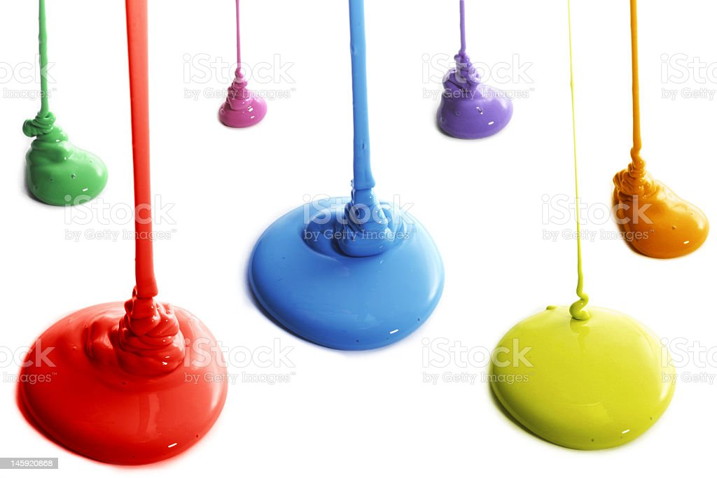 Seven places where colorful paint is being poured royalty-free stock photo