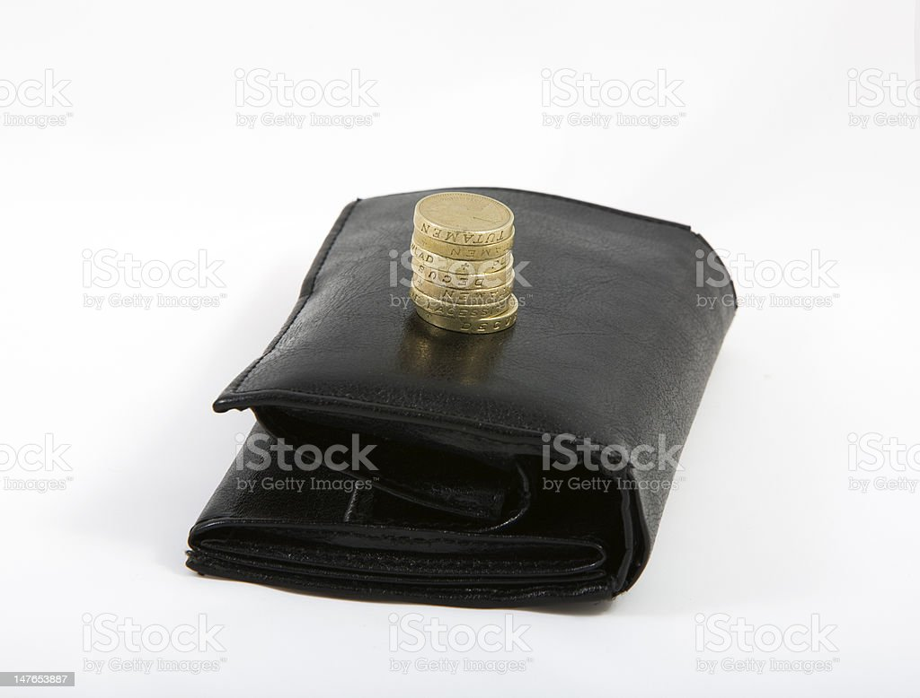 seven pounds and wallet royalty-free stock photo