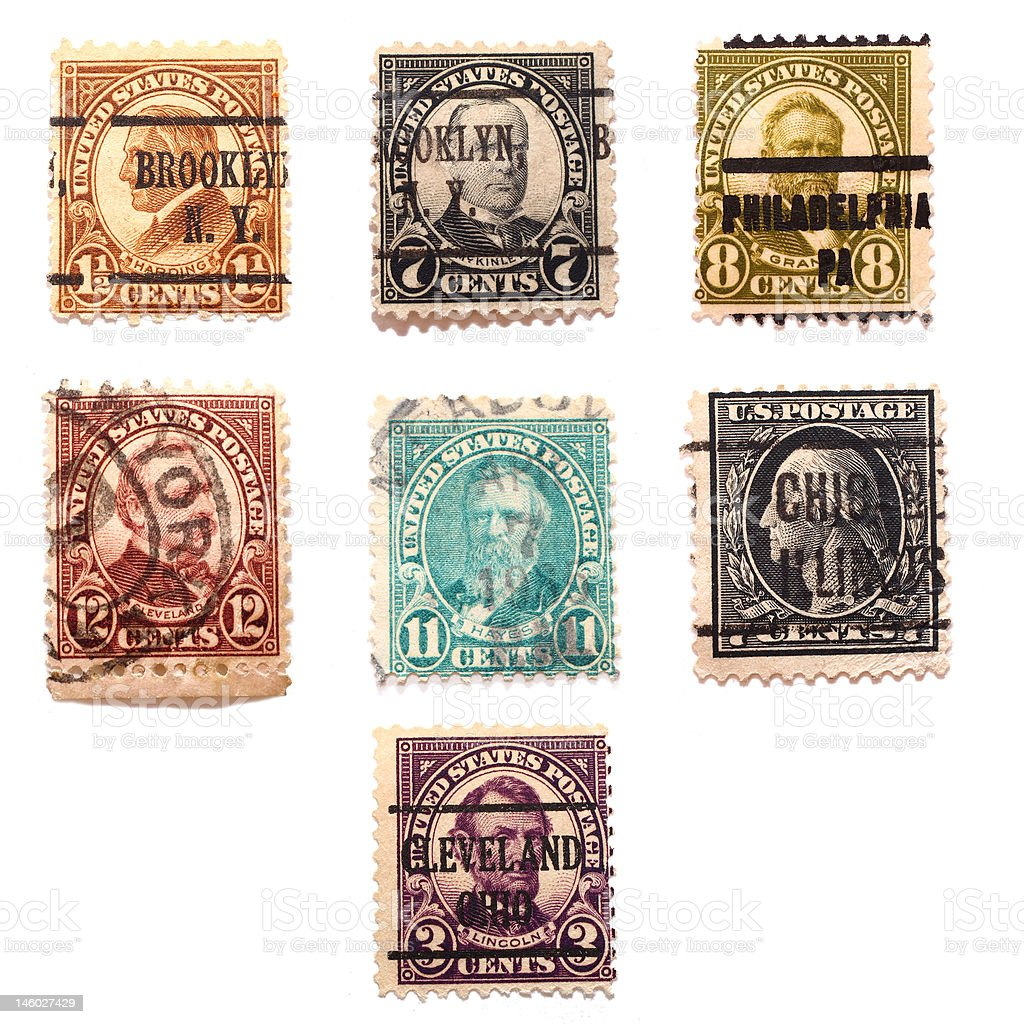 Seven Presidents Stamps stock photo