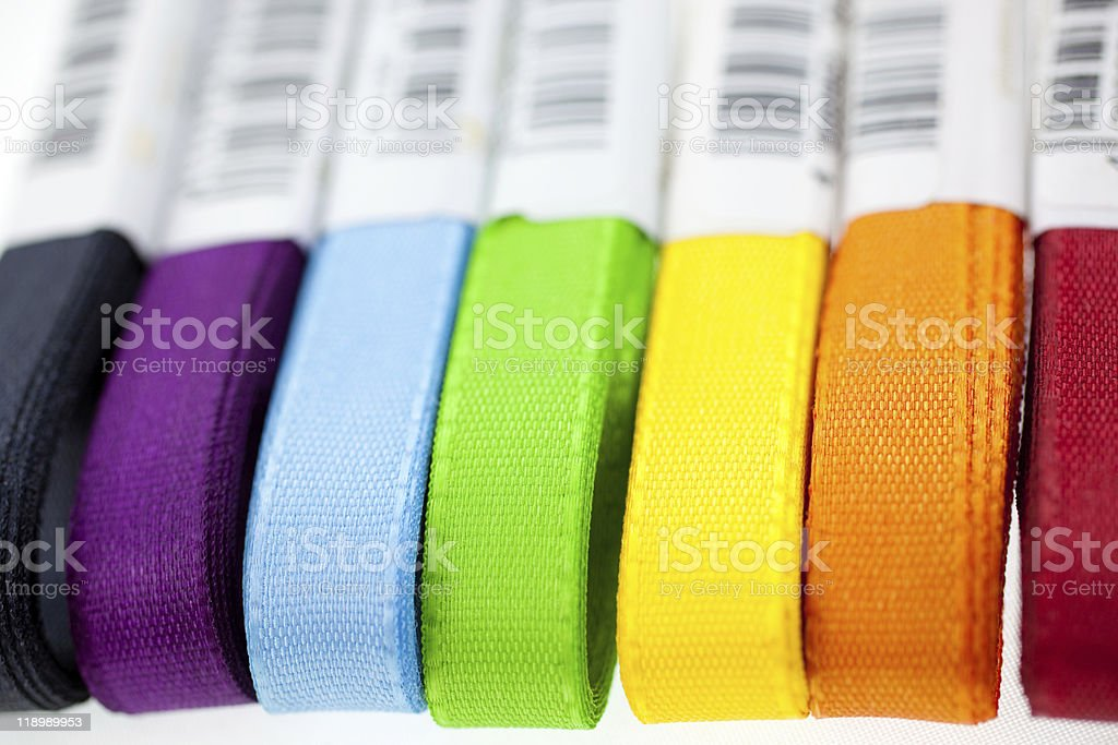 seven rainbow colored ribbons royalty-free stock photo
