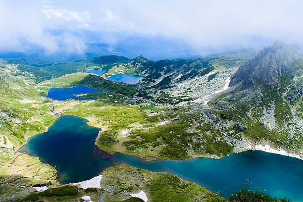 Seven Rila Lakes View Beautiful view of the Seven Rila Lakes. The Seven Rila Lakes are a group of lakes of glacial origin, situated in the northwestern Rila Mountains in Bulgaria. They are the most visited group of lakes in Bulgaria. number 7 stock pictures, royalty-free photos & images