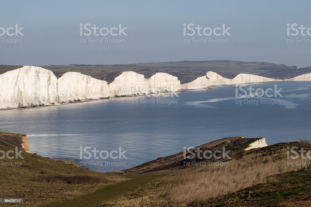 Sette sorelle scogliere vicino Seaford. East Sussex. Inghilterra foto stock royalty-free