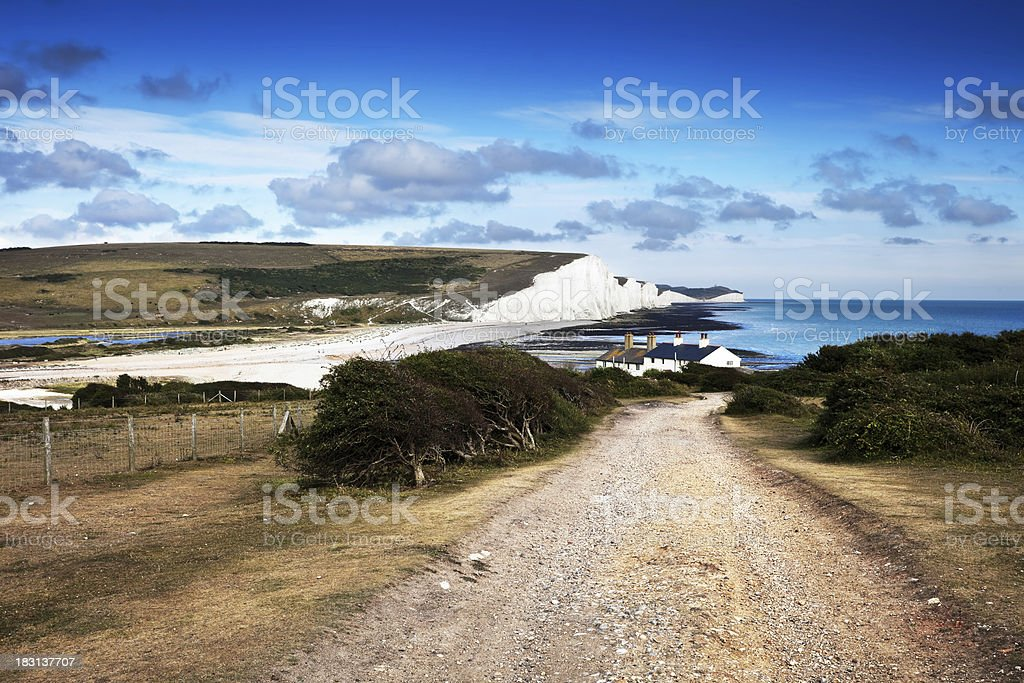 Seven Sisters and Coastguard Houses at Cuckmere Haven, England stock photo