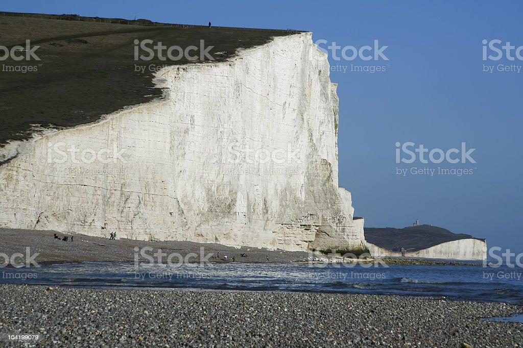 seven sisters chalk cliffs pebble beach royalty-free stock photo