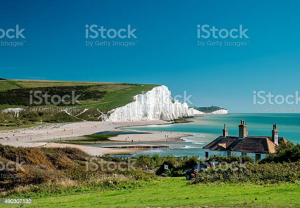 Seven Sisters chalk cliffs at Sussex with the clear blue sky